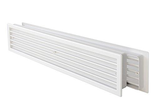 La Ventilazione PTT459B Rejilla de ventilación telescópica de plástico Rectangular 452 x 90 mm, Color Blanco, 452x90 mm