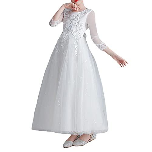 Niñas Vestido de Princesa Vestido de Bautismo Vestido de Fiesta de Tul de Encaje Vestido de Niña de Flores para Boda Vestido Largo sin Mangas de Dama de Honor Cumpleaños Bola Paseo Cóctel Vestir