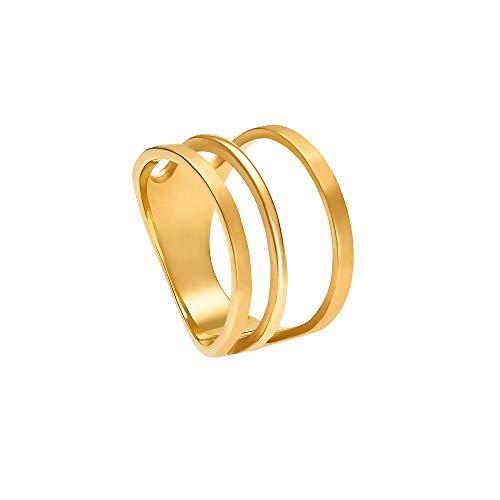 Heideman Ring Damen aus Edelstahl gold farbend matt Damenring für Frauen mit