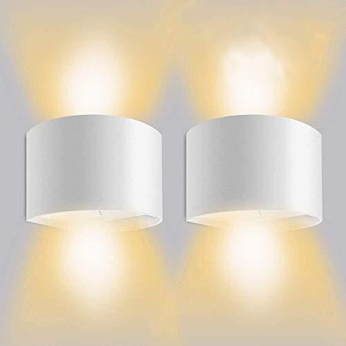 Applique Mural Interieur 12W 2Pcs Moderne Etanche IP65 Réglable Lampe Up Down Design 3000K Blanc Chaud