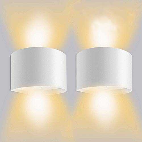 LEDMO Apliques de Pared LED 3000K,Lamparas De Pared LED 12W Impermeable IP65 Con Luz Blanco Cálido Lluminación de Exterior y De Interior