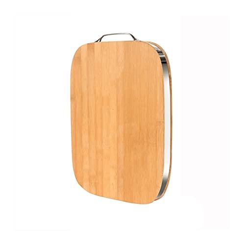 ZXCVB Tablero de Corte de bambú Cocina Tajadera con Marco de Metal y Mango de Metal Adecuado para Cortar Verduras Frutas y Carne (Color : Thickness 3.4cm, Size : 40×30cm)