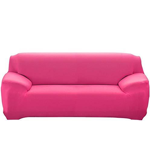 Fundas de cojín de 2 piezas para 1/2/3/4 plazas Funda de sofá elástica jacquard de color sólido3 fundas de cojín de asiento individuales Protector de muebles, B rosa roja, 2 plazas 145-172cm