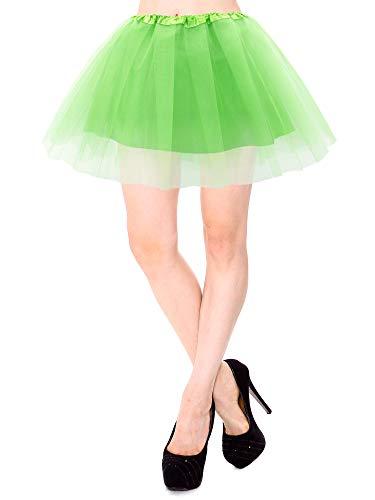 Simplicity Tutu Skirt Womens Classic 4 Layered Satin Lined Tutu Skirt, Green