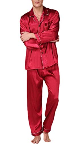 H&E - Conjunto de Pijama cómodo para Hombre (2 Piezas) Rojo Rosso M