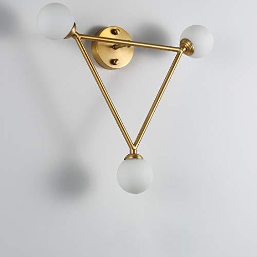 Helele wandlamp voor binnen, modern, van messing en glas, moderne led-wandlamp voor buiten, slaapkamer, hal, woonkamer, nachtlampje