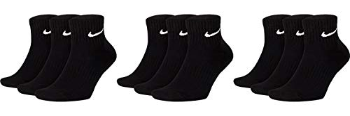 Nike 9 Paar Herren Damen Kurze Socke Knöchelhoch Weiß Schwarz Sparset SX7667 Sportsocken Größe 34 36 38 40 42 44 46 48 50, Größe:38-42, Farbe:schwarz/schwarz/schwarz