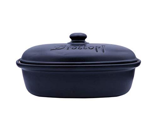LISINA Keramik & Design - Keramik Brottopf L 34 x 22 x 17 cm (schwarz)
