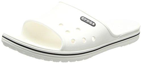 Crocs Crocband 2 Slide, Unisex - Erwachsene Badeschuhe, Weiß (White/black), 41/42 EU