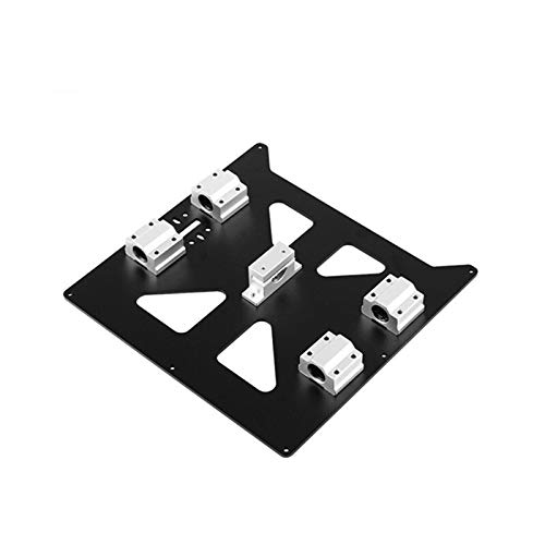 HUANRUOBAIHUO Aluminum Y Carriage Anodized Plate With SC8UU Bearings and belt holder Hot Bed Support Plate For Prusa i3 RepRap 3D Printer Parts (Color : Black set)