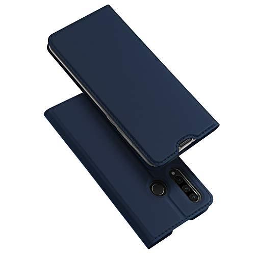 DUX DUCIS Hülle für Huawei P30 Lite, Huawei P30 Lite New Edition Hülle, Leder Flip Handyhülle Schutzhülle Tasche Hülle mit [Kartenfach] [Standfunktion] [Magnetverschluss] (Blau)