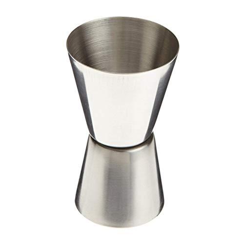 KKAAMYND Cuchilla de acero inoxidable de doble cabezal, práctica copa de vino, taza medidora, taza de mezcla, color plata 25/50 ml, doble cara: cócteles Jigger, puede girar para diferentes medidas