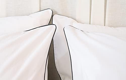 Fundas de Almohada (2 ud.) - Blanco con remate en Blanco/Color - 100% algodón percal 200 Hilos - Fabricado en EU (Azul Marino, Resto de Cama (50cm x 70 cm))