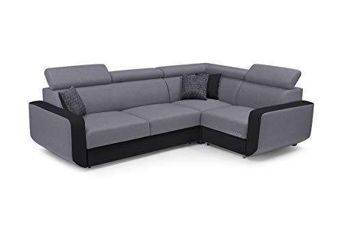 MOEBLO Ecksofa mit Schlaffunktion Eckcouch mit Bettkasten Sofa Couch L-Form Polsterecke Celine (Grau + Schwarz, Ecksofa Rechts)