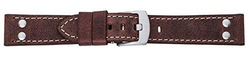 Eichmüller 22mm Leder Armband braun mit Edelstahl Dornschließe und Nieten