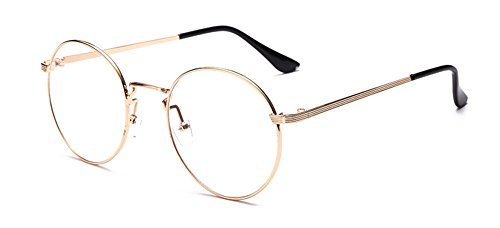 Outray Vintage Inspired Gafas redondas clásicas Gafas con montura metálica Gafas con lentes transparentes Dorado