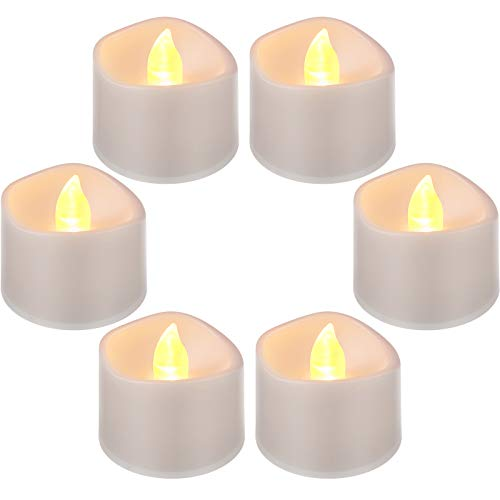 6 Piezas Luces LED sin Llama Luz de Té LED Parpadeante Funciona con Pilas Vela Falsa Eléctrica en Amarillo y Onda Abierta, 1,5 x 1,4 Pulgadas Decoración Velas para Navidad San Valentín Boda