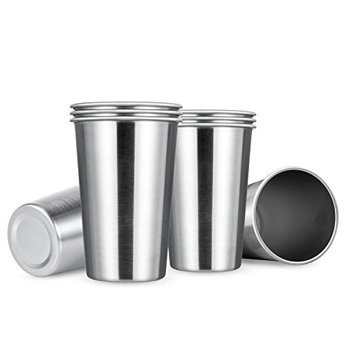 MEWAY 8 Pack 16oz Stainless Steel Pint Cup,Healthy Unbreakable and Stackable,Metal Drinking Glasses...
