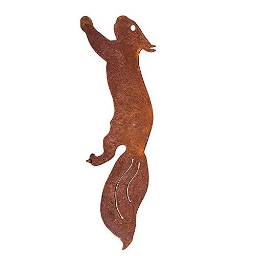 Floepx Estatuas de metal oxidado para jardín, bonita silueta de ardilla, árbol, estatuas de jardín, decoración para correr, ardilla, Plug Escultura para jardín o patio
