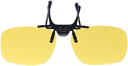 PEARL Brillenaufsatz: Nachtsicht-Brillenclip in abgerundetem Design, polarisiert, UV400 (Gelbbrille)