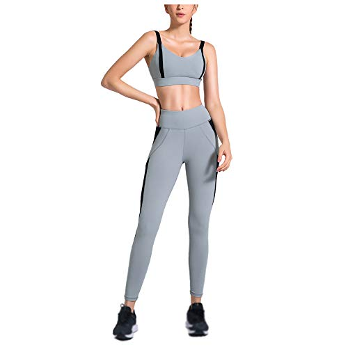 Women's Yoga Wear Fitness Training Wear Spring and Summer Sports Bra +Fitness Tights Workout Pants Grey-L