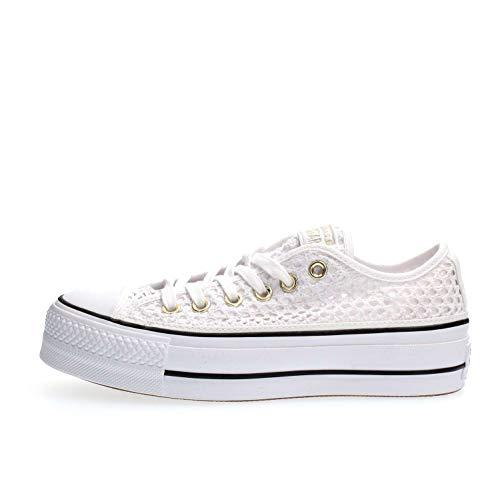 Converse, CTAS OX White/Black 564873C, Zapatillas con Plataforma para Mujer,39