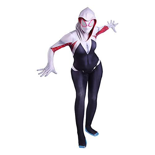 LGYCB Spiderman Cosplay Disfraces Gwen Mask Body Black Spiderman Jumpsuit Zentai Leotard Super Heros Halloween Trajes para Mujeres Unisex Girls,Bodysuit-Adult M(150~160cm)