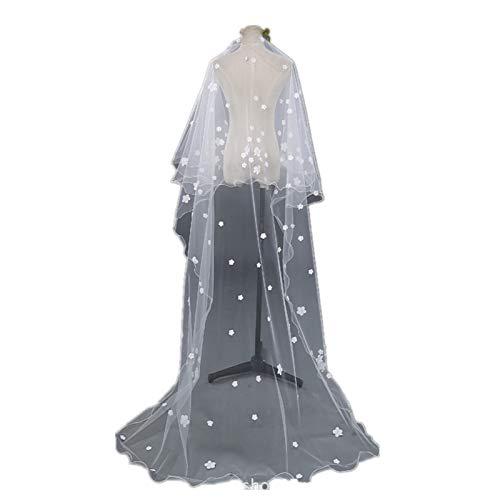 Bruidssluier met witte bloem, 1 laag Romantische Bruidssluier Kathedraal Accessoires Vloerlengte Sluiers Elegante Eenvoudige Zachte Tule voor Vrouwen, Lange Galajurken Hoofdband