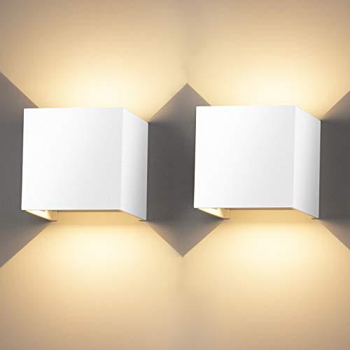 LEDMO Lampada da Parete per Interni/Esterno 2 Pezzi 12W LED Moderno Applique Esterno Muro su e Giù Regolabile Design IP65 Impermeabile