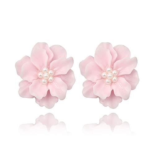DSJTCH Pendientes de la Flor de la Camelia de la Moda Coreana Simple Flor Blanca Perla Pendientes de Perla para Las Mujeres Pendientes Lindos Accesorios de joyería Elegantes (Metal Color : Pink)