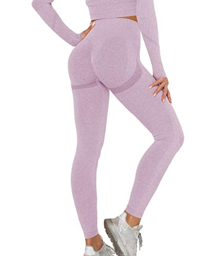 KIWI RATA Leggings de Sport Femme Taille Haute legging Push Up Effet Compression Anti Cellulite Pantalon avec Top T-Shirt Manches Longues Ensemble Sans Couture pour Jogging Yoga Fitness Pilates