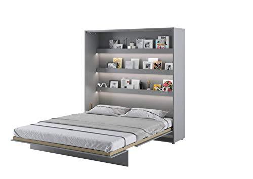 LENART Bed Concept - Cama plegable vertical (160 x 200 cm), color gris satinado