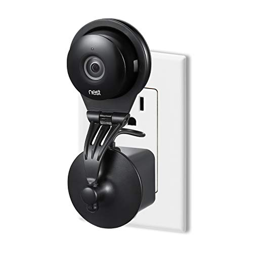 Wasserstein 360 Degree Swivel Nest Cam AC Outlet Mount - Flexible Mounting Option for Your Home Security Camera (Black)