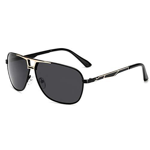 Taiyangcheng Gafas de Sol de Metal para Hombres Protector polarizado Gafas de Sol para Autos para Mujeres Vigas Dobles,Gris Dorado Negro