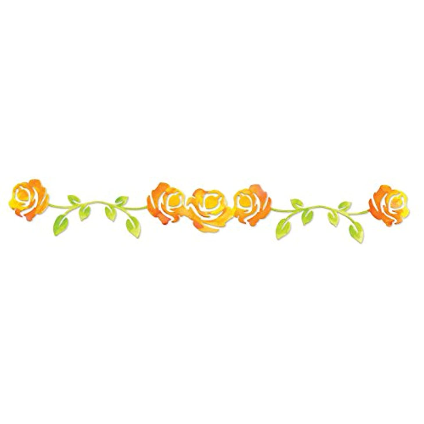 Sizzix 658512 Sizzlits Decorative Strip Die, Rose Vine by Scrappy Cat, Yellow