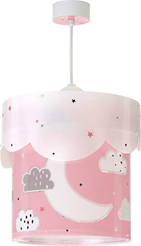 Dalber Moon Lámpara Infantil de Techo Luna y Estrellas, 60 W, Rosa