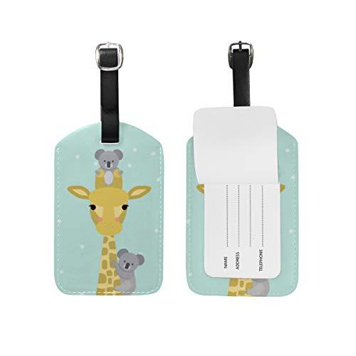 Chic Houses Lindo jirafa koala etiquetas de equipaje de viaje animal fresco estilo maleta etiquetas de equipaje de mano etiquetas de identificación con correa negra 2031532