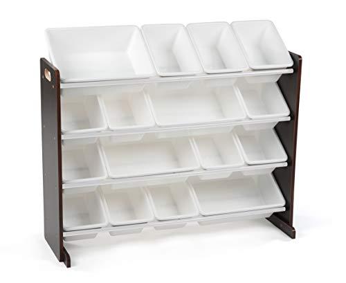 Humble Crew Extra-Large Toy Organizer, 16 Storage Bins, Espresso/White