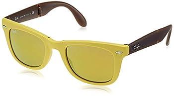 Ray-Ban Men s Folding Wayfarer Sunglasses,50mm,Matte Yellow/Brown Mirror Gold