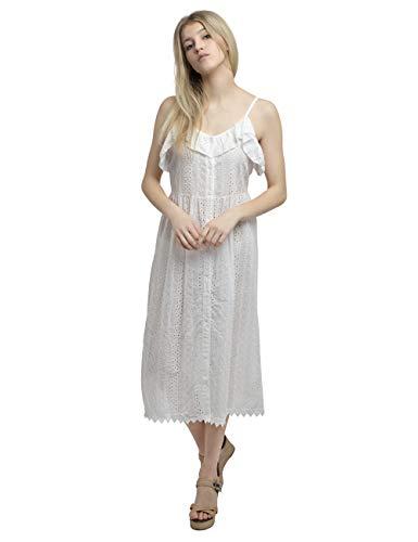 APART weißes Damen Kleid, Sommerkleid, Volant am Ausschnitt, Spitzensaum, Lochstickerei
