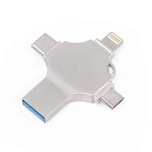 Clé USB Clé USB C Memory Stick Flash 32 Go Lecteur Multifonction 4 en 1 avec Ports Micro USB Type-C pour Android Smartphone Pad MacBook et Ordinateur Portable Argent (Couleur: Argent Taille: 128G)