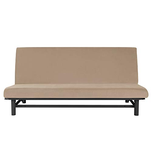 MILARAN Samt Sofabezug 3 sitzer, 1-Stück Soft Stretch Couchbezug Ohne Armstützen, Weiche Schlafsofa Bettdecke,Kamel