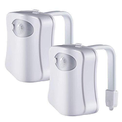 ADMOZ Multi-Color Motion Sensor LED Toilet Night Light – Light Detection Sensor– Cool New Fun Gadget for Him, Her, Men, Women or Birthday Kid – Funny Unique Gift Idea (2PCS)