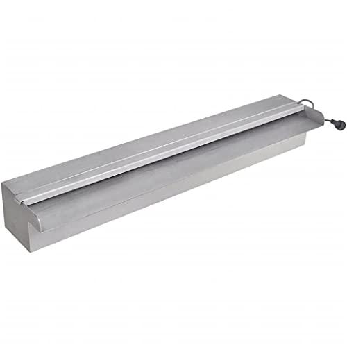vidaXL Lame d'eau rectangulaire à LED 60 cm acier inoxydable pour piscine bassin