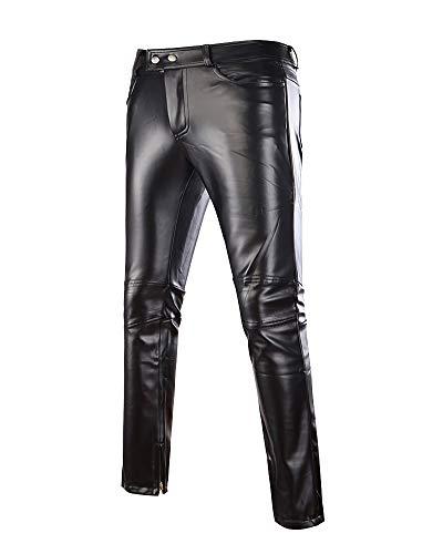 ShiFan Pantaloni in Pelle PU da Uomo Effetto Bagnato Ecopelle Slim Elasticizzati Nero XL