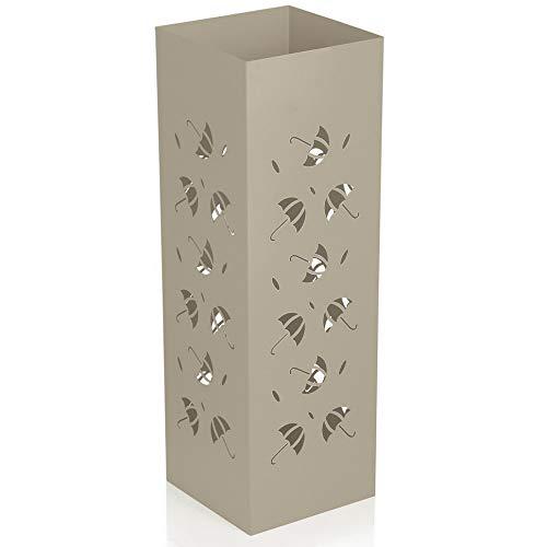Baroni Home Portaombrelli Design Moderno Porta Ombrelli in Metallo con Intaglio Cerchio Grigio Tortora con Gancino e Vaschetta Scolapioggia Rimovibile 18X18X55 cm (Tortora)