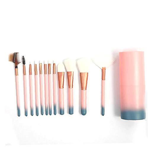 Pinceaux 12pcs Le bleu dégradé et Rose Professional Nylon Teint Poudre Fards cosmétiques Brosses avec étui rose dégradé