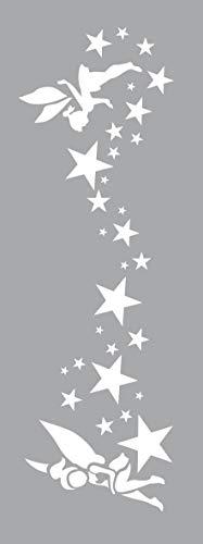 GRAINE CREATIVE 226155 Pochoir Décor 15 x 40 Fees, Plastique, Gris, 15,5 x 0,1 x 47,5 cm
