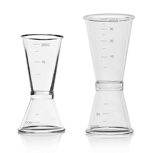 Inrigorous Cocktail-Messbecher-Set, doppelter Spirituosen-Messbecher, Messbecher für Bar, Party, Wein, Cocktail, Shaker, 10 ml/20 ml und 20 ml/40 ml