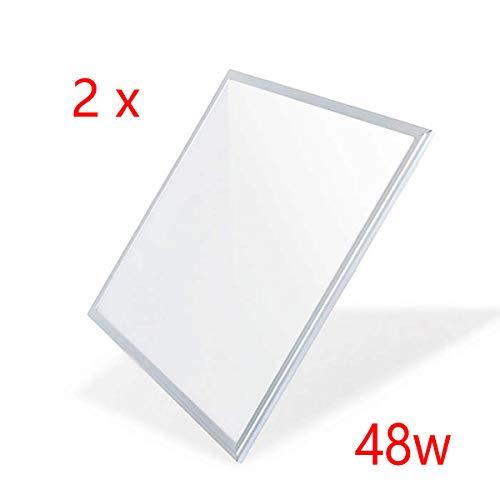 MUNDDY - Pack 2 Panel LED 60 x 60 cm, 48W, 4050 lumenes Reales certificados. Driver incluido 595 x 595 x 33 mm [Clase de eficiencia energética A++] (Blanco 6000K, Pack de 2 uds)